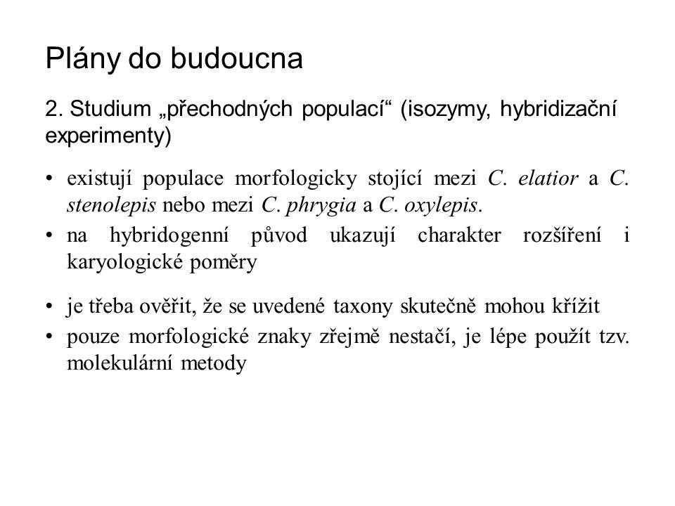 """Plány do budoucna 2. Studium """"přechodných populací"""" (isozymy, hybridizační experimenty) existují populace morfologicky stojící mezi C. elatior a C. st"""