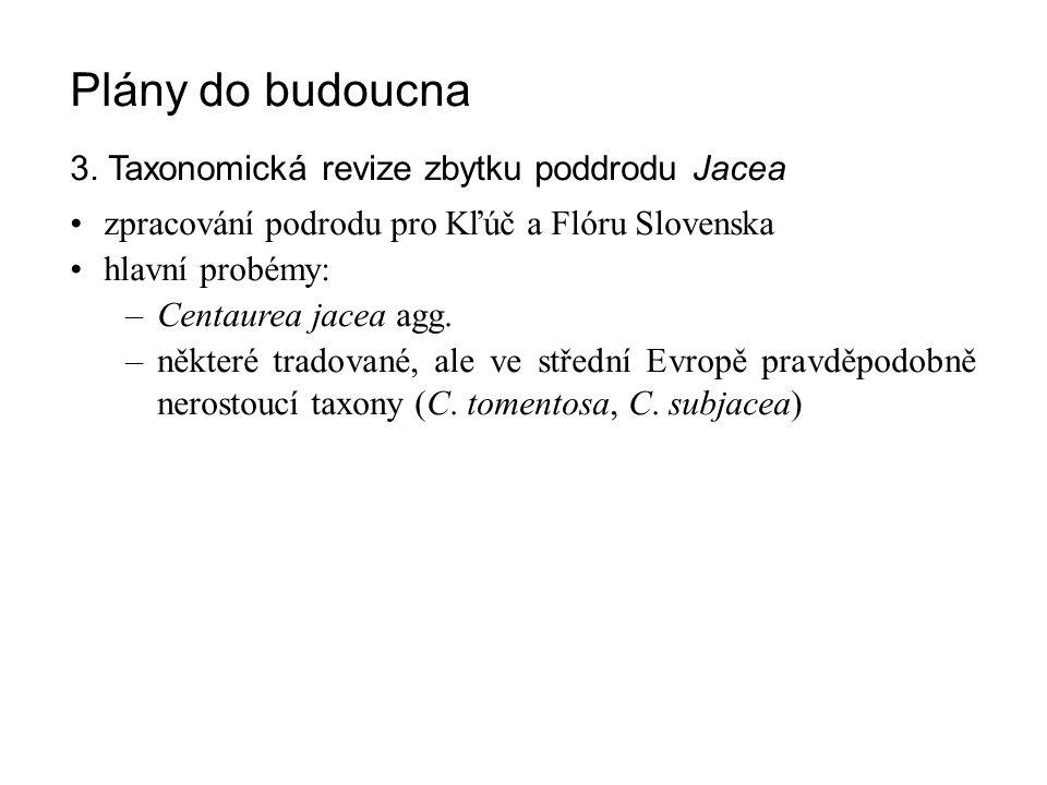 Plány do budoucna 3. Taxonomická revize zbytku poddrodu Jacea zpracování podrodu pro Kľúč a Flóru Slovenska hlavní probémy: –Centaurea jacea agg. –něk