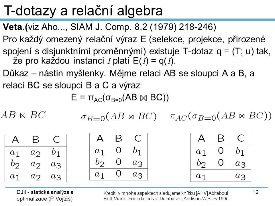 DJII - statická analýza a optimalizace (P. Vojtáš) 12 Veta.(viz Aho..., SIAM J. Comp. 8,2 (1979) 218-246) Pro každý omezený relační výraz E (selekce,