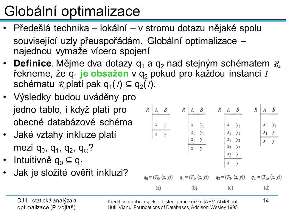 DJII - statická analýza a optimalizace (P. Vojtáš) 14 Předešlá technika – lokální – v stromu dotazu nějaké spolu související uzly přeuspořádám. Globál