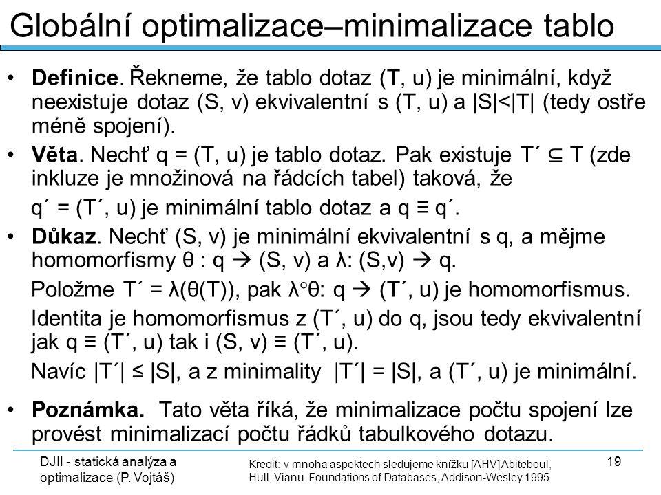 DJII - statická analýza a optimalizace (P. Vojtáš) 19 Definice. Řekneme, že tablo dotaz (T, u) je minimální, když neexistuje dotaz (S, v) ekvivalentní