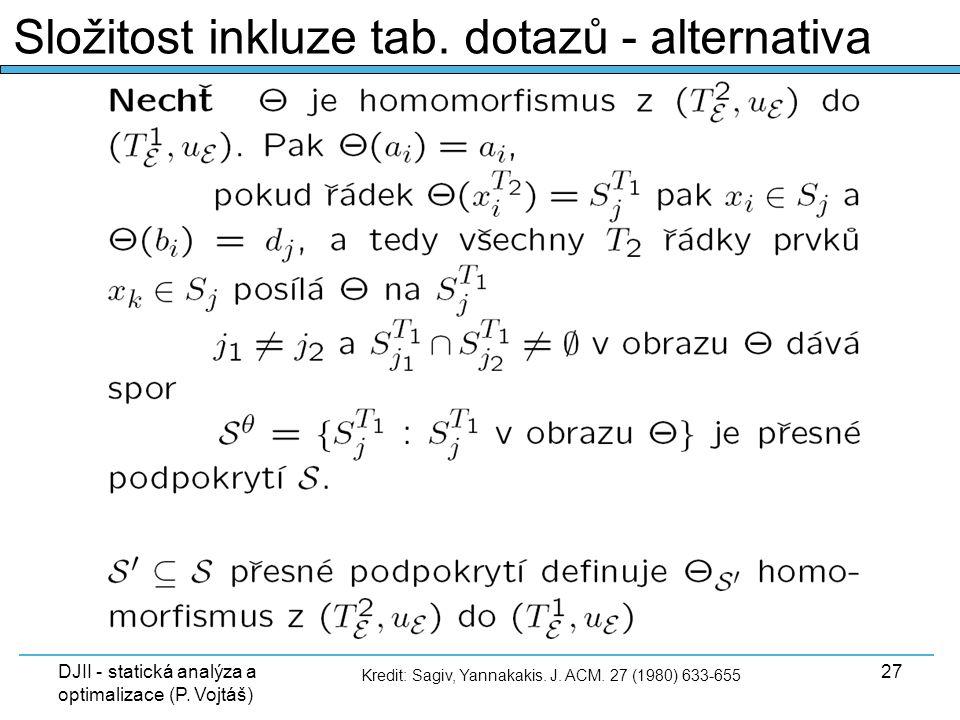 DJII - statická analýza a optimalizace (P. Vojtáš) 27 Složitost inkluze tab. dotazů - alternativa Kredit: Sagiv, Yannakakis. J. ACM. 27 (1980) 633-655