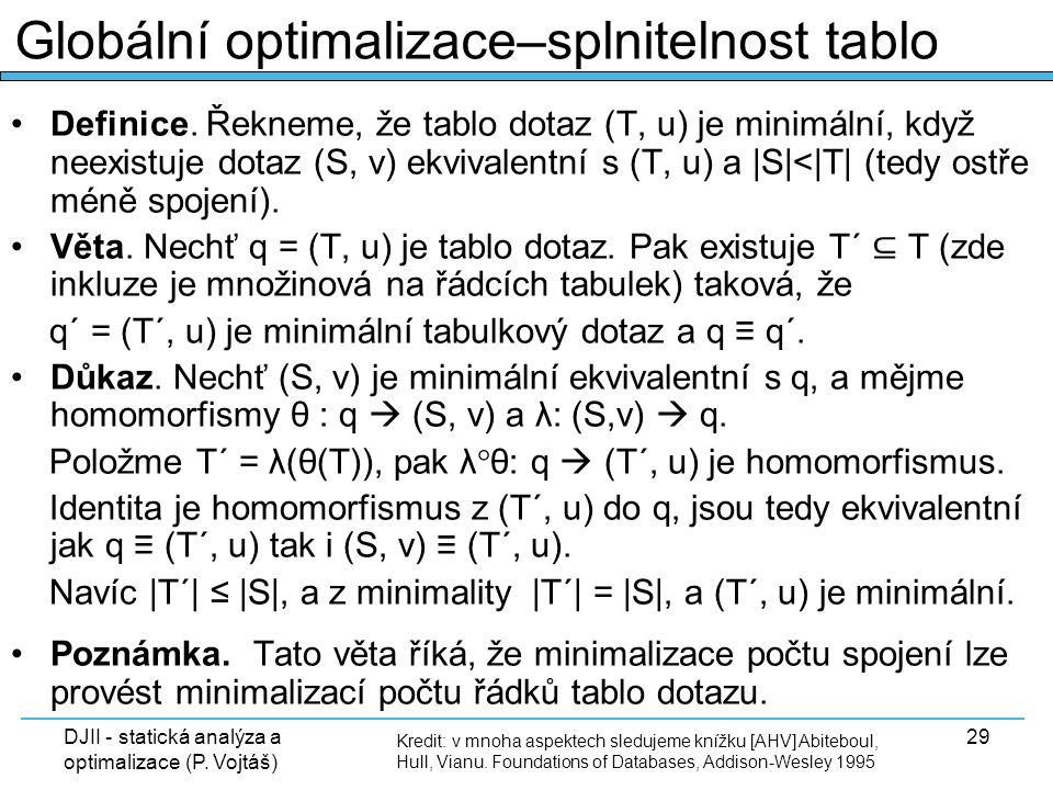 DJII - statická analýza a optimalizace (P. Vojtáš) 29 Definice. Řekneme, že tablo dotaz (T, u) je minimální, když neexistuje dotaz (S, v) ekvivalentní