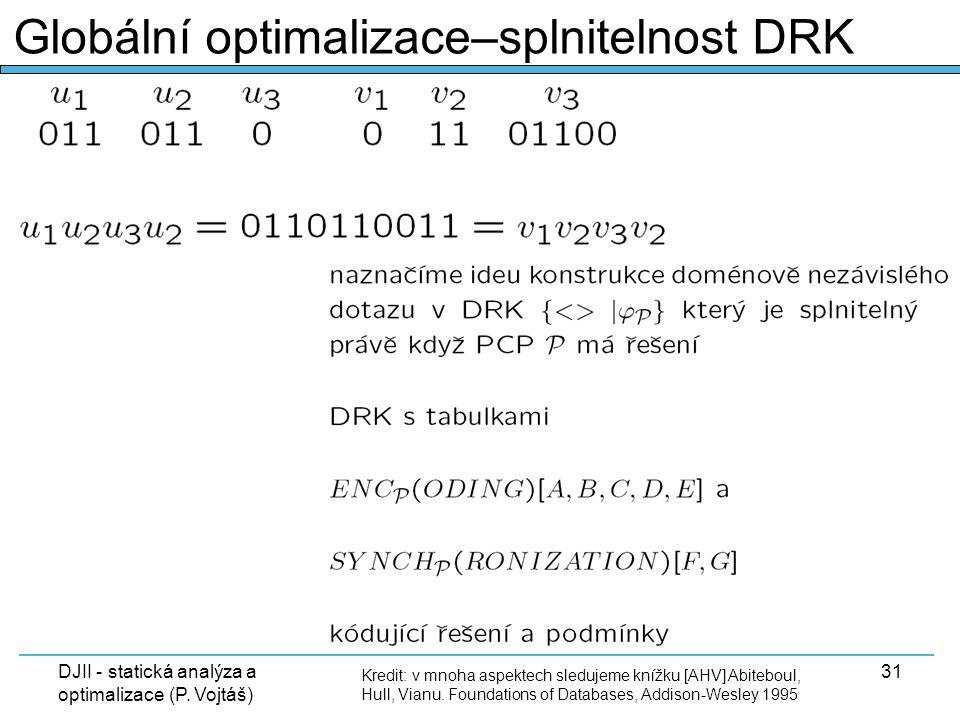 DJII - statická analýza a optimalizace (P. Vojtáš) 31 Kredit: v mnoha aspektech sledujeme knížku [AHV] Abiteboul, Hull, Vianu. Foundations of Database