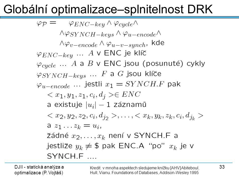 DJII - statická analýza a optimalizace (P. Vojtáš) 33 Kredit: v mnoha aspektech sledujeme knížku [AHV] Abiteboul, Hull, Vianu. Foundations of Database