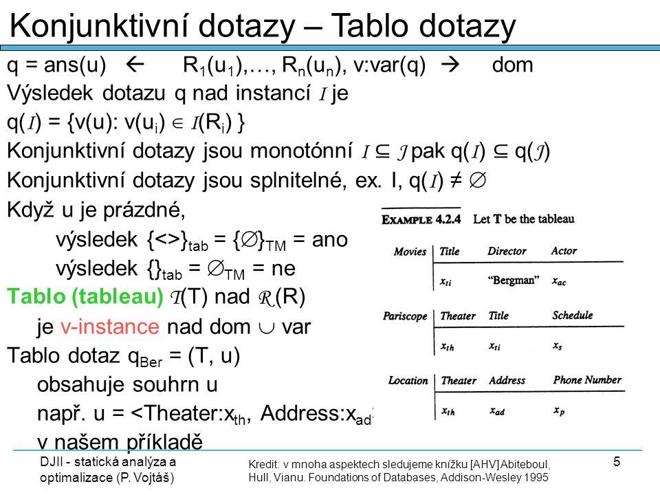 DJII - statická analýza a optimalizace (P. Vojtáš) 5 q = ans(u)  R 1 (u 1 ),…, R n (u n ), v:var(q)  dom Výsledek dotazu q nad instancí I je q( I )
