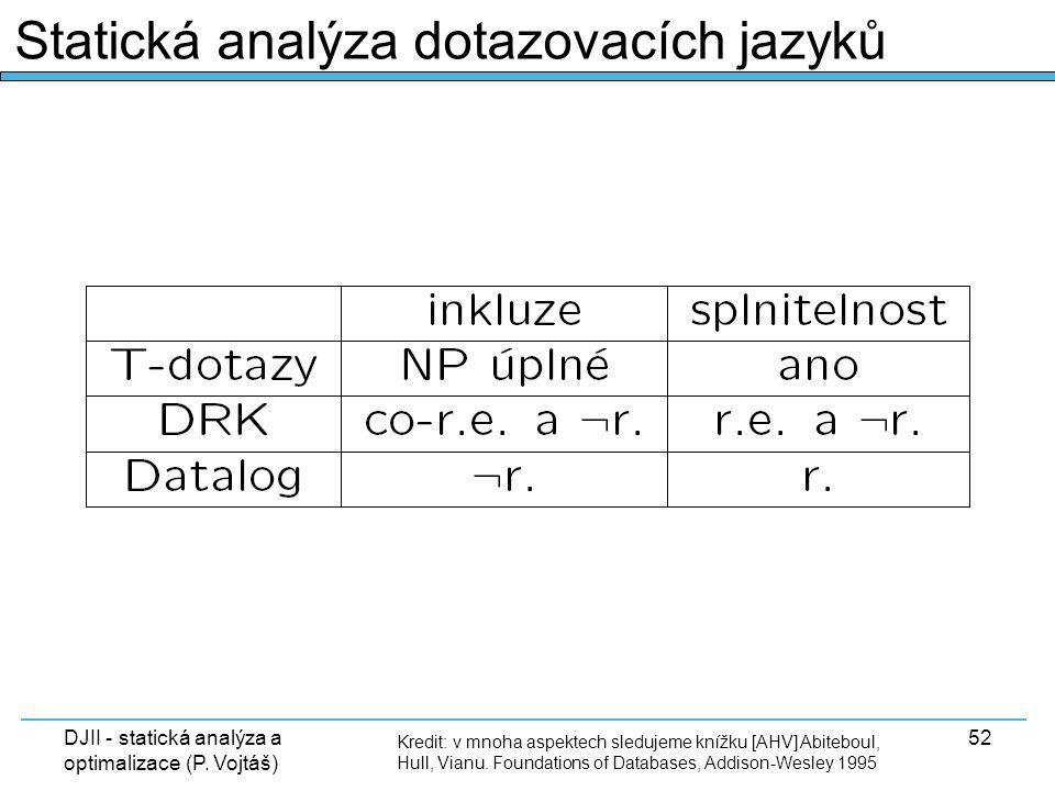 DJII - statická analýza a optimalizace (P. Vojtáš) 52 Kredit: v mnoha aspektech sledujeme knížku [AHV] Abiteboul, Hull, Vianu. Foundations of Database