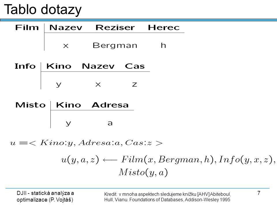 DJII - statická analýza a optimalizace (P. Vojtáš) 7 Tablo dotazy Kredit: v mnoha aspektech sledujeme knížku [AHV] Abiteboul, Hull, Vianu. Foundations