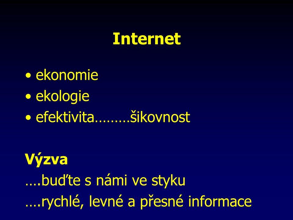 Internet ekonomie ekologie efektivita………šikovnost Výzva ….buďte s námi ve styku ….rychlé, levné a přesné informace