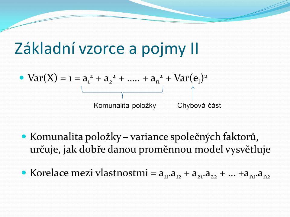 Základní vzorce a pojmy II Var(X) = 1 = a 1 2 + a 2 2 + …..