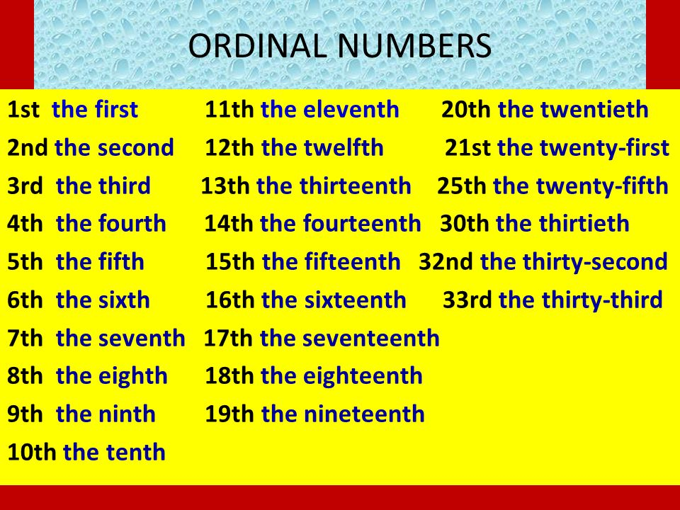 ORDINAL NUMBERS 1st the first 11th the eleventh 20th the twentieth 2nd the second 12th the twelfth 21st the twenty-first 3rd the third 13th the thirte