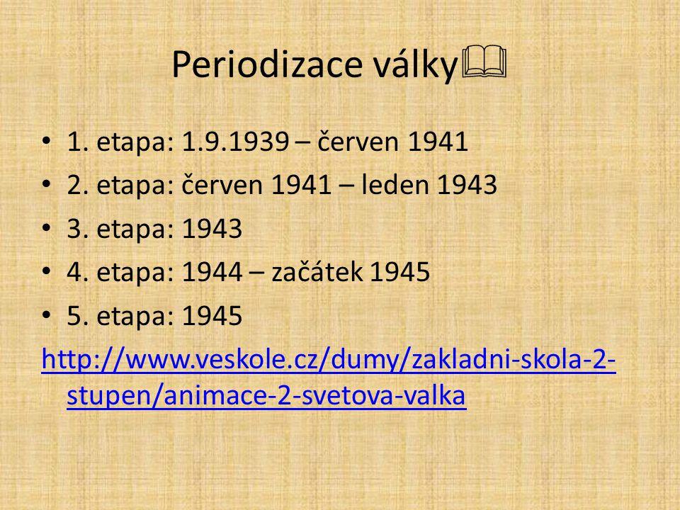 Periodizace války  1. etapa: 1.9.1939 – červen 1941 2. etapa: červen 1941 – leden 1943 3. etapa: 1943 4. etapa: 1944 – začátek 1945 5. etapa: 1945 ht