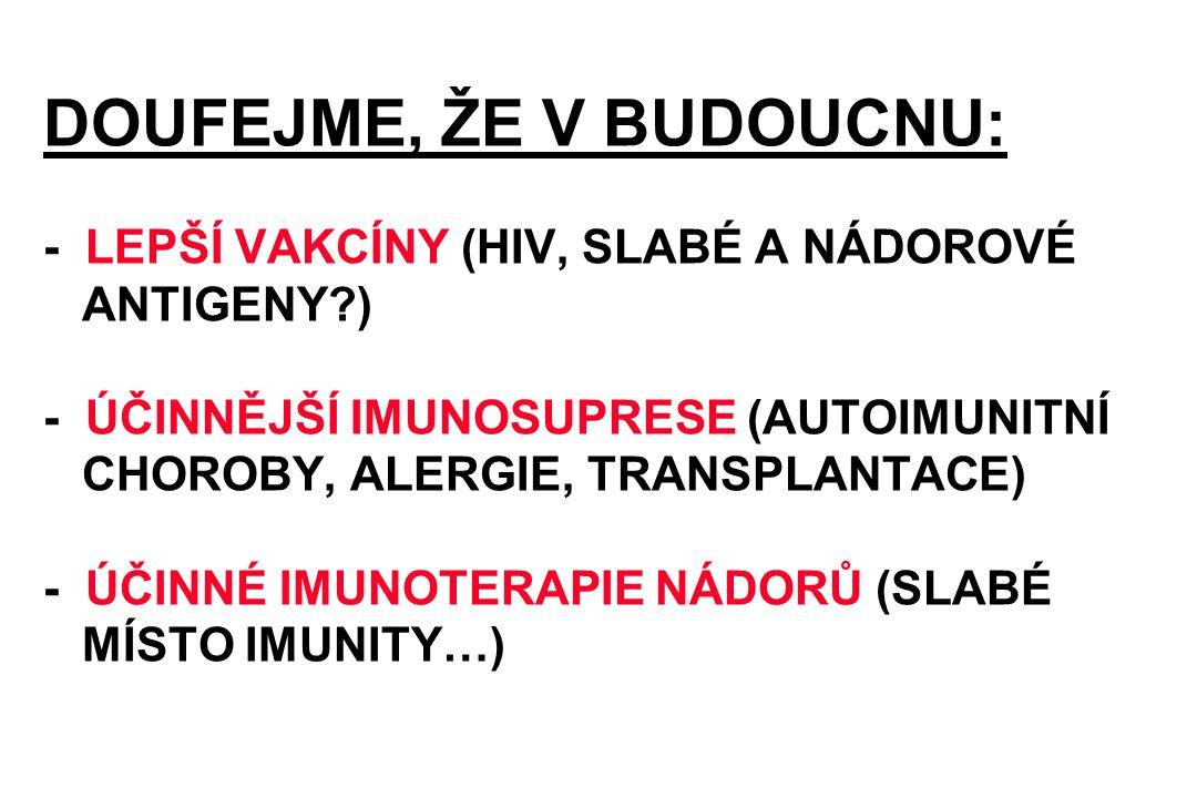 DOUFEJME, ŽE V BUDOUCNU: - LEPŠÍ VAKCÍNY (HIV, SLABÉ A NÁDOROVÉ ANTIGENY?) - ÚČINNĚJŠÍ IMUNOSUPRESE (AUTOIMUNITNÍ CHOROBY, ALERGIE, TRANSPLANTACE) - Ú