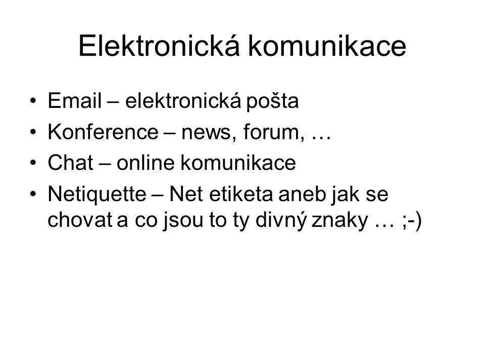 Elektronická komunikace Email – elektronická pošta Konference – news, forum, … Chat – online komunikace Netiquette – Net etiketa aneb jak se chovat a co jsou to ty divný znaky … ;-)