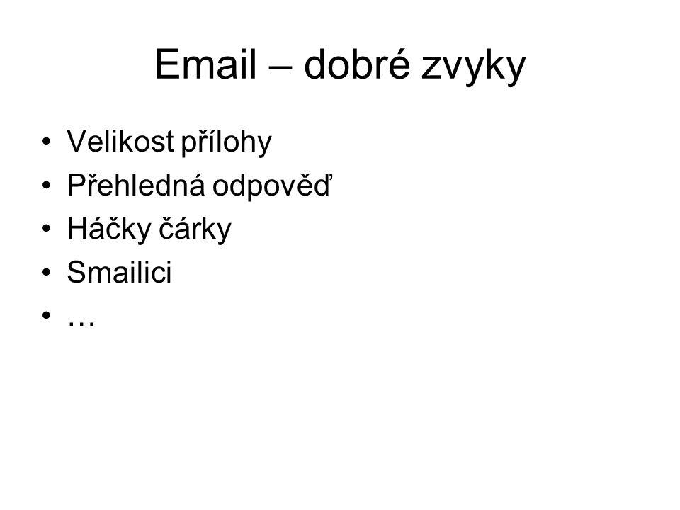Email – dobré zvyky Velikost přílohy Přehledná odpověď Háčky čárky Smailici …