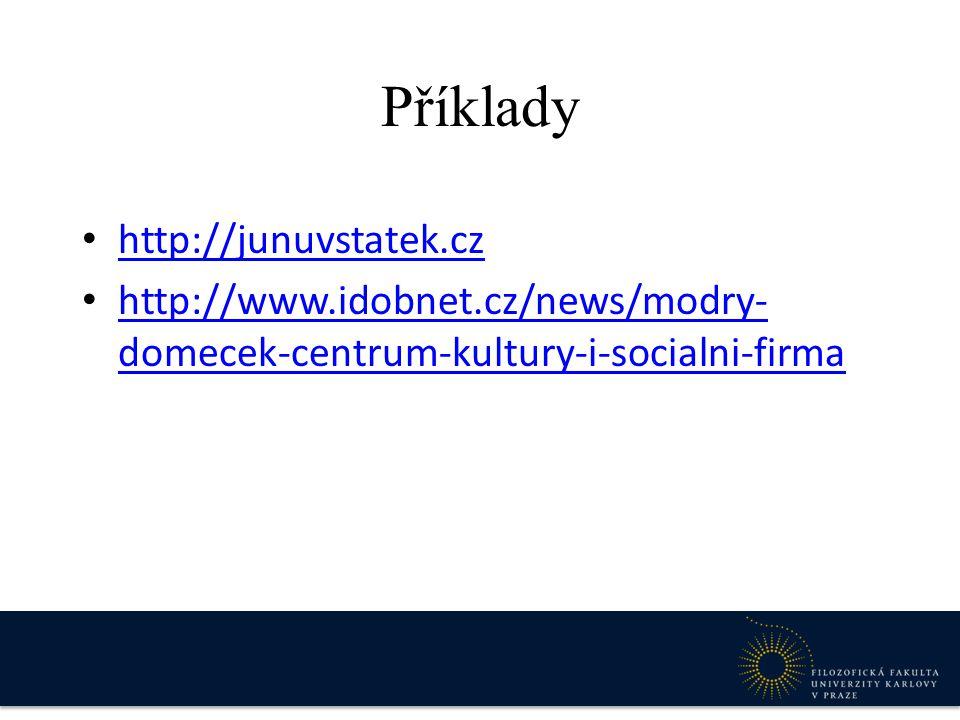 Příklady http://junuvstatek.cz http://www.idobnet.cz/news/modry- domecek-centrum-kultury-i-socialni-firma http://www.idobnet.cz/news/modry- domecek-ce