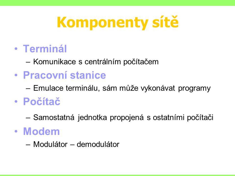Komponenty sítě Terminál –Komunikace s centrálním počítačem Pracovní stanice –Emulace terminálu, sám může vykonávat programy Počítač –Samostatná jednotka propojená s ostatními počítači Modem –Modulátor – demodulátor