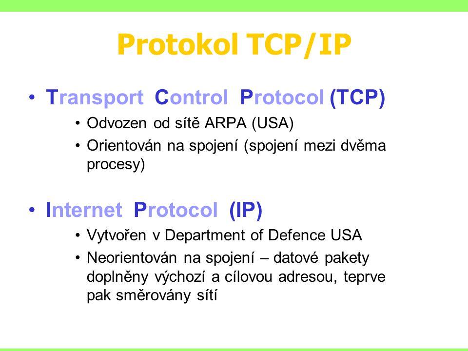 Protokol TCP/IP Transport Control Protocol (TCP) Odvozen od sítě ARPA (USA) Orientován na spojení (spojení mezi dvěma procesy) Internet Protocol (IP) Vytvořen v Department of Defence USA Neorientován na spojení – datové pakety doplněny výchozí a cílovou adresou, teprve pak směrovány sítí