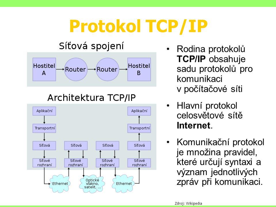 Protokol TCP/IP Rodina protokolů TCP/IP obsahuje sadu protokolů pro komunikaci v počítačové síti Hlavní protokol celosvětové sítě Internet.