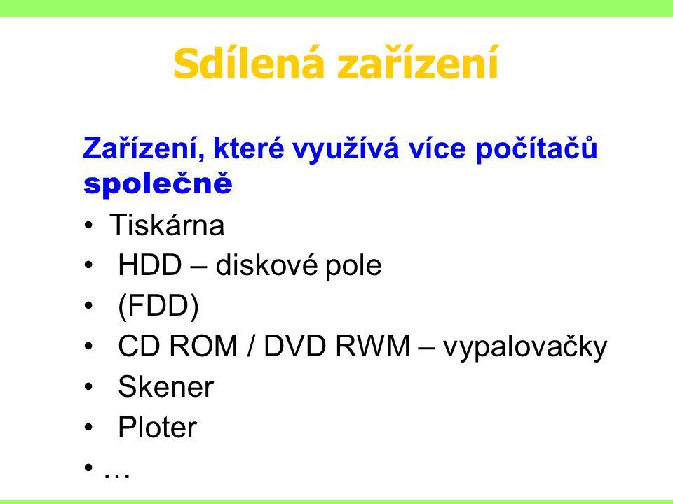 Sdílená zařízení Zařízení, které využívá více počítačů společně Tiskárna HDD – diskové pole (FDD) CD ROM / DVD RWM – vypalovačky Skener Ploter …