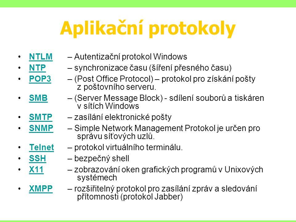 Aplikační protokoly NTLM – Autentizační protokol WindowsNTLM NTP – synchronizace času (šíření přesného času)NTP POP3 – (Post Office Protocol) – protokol pro získání pošty z poštovního serveru.POP3 SMB – (Server Message Block) - sdílení souborů a tiskáren v sítích WindowsSMB SMTP – zasílání elektronické poštySMTP SNMP – Simple Network Management Protokol je určen pro správu síťových uzlů.SNMP Telnet – protokol virtuálního terminálu.Telnet SSH – bezpečný shellSSH X11 – zobrazování oken grafických programů v Unixových systémechX11 XMPP – rozšiřitelný protokol pro zasílání zpráv a sledování přítomnosti (protokol Jabber)XMPP