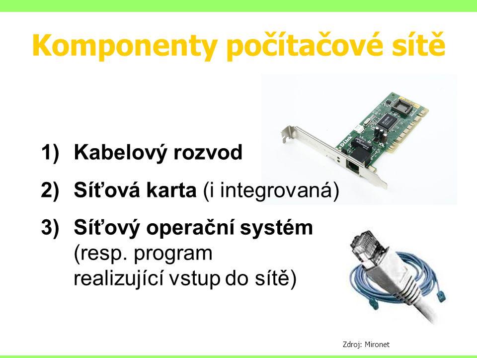 Komponenty počítačové sítě 1)Kabelový rozvod 2)Síťová karta (i integrovaná) 3)Síťový operační systém (resp. program realizující vstup do sítě) Zdroj: