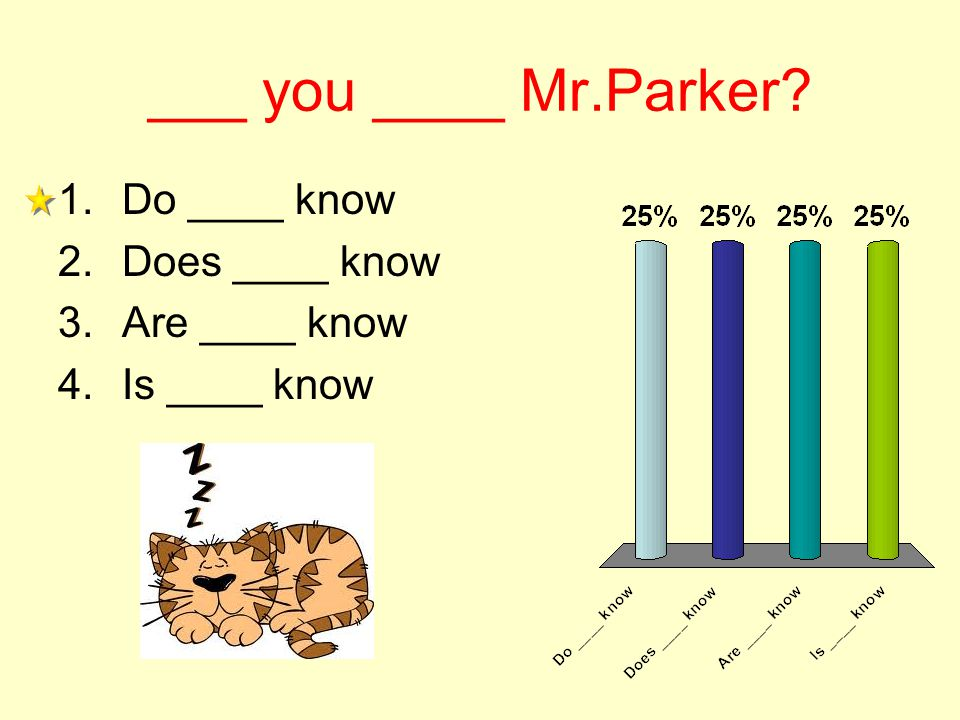 ___ you ____ Mr.Parker 1.Do ____ know 2.Does ____ know 3.Are ____ know 4.Is ____ know