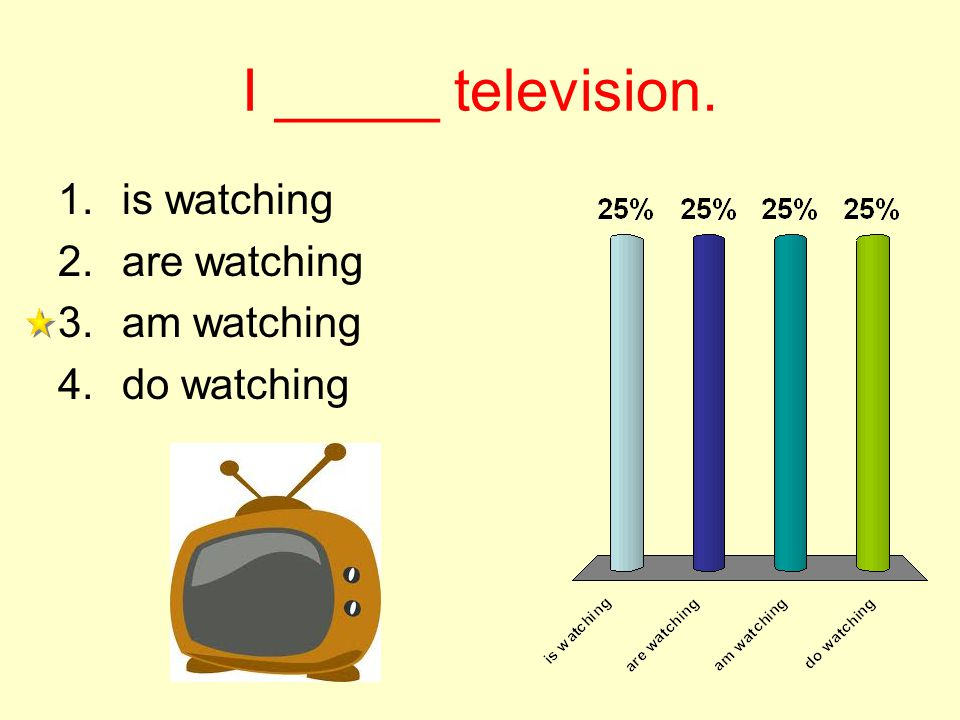 I _____ television. 1.is watching 2.are watching 3.am watching 4.do watching