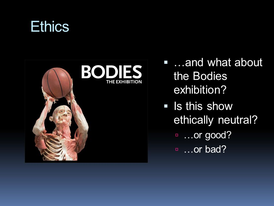 Ethics  …and what about the Bodies exhibition.  Is this show ethically neutral.