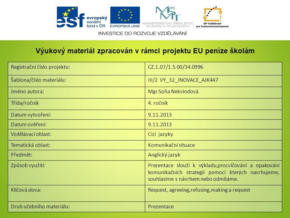 Registrační číslo projektu:CZ.1.07/1.5.00/34.0996 Šablona/číslo materiálu:III/2 VY_32_INOVACE_AJK447 Jméno autora:Mgr.Soňa Nekvindová Třída/ročník4.