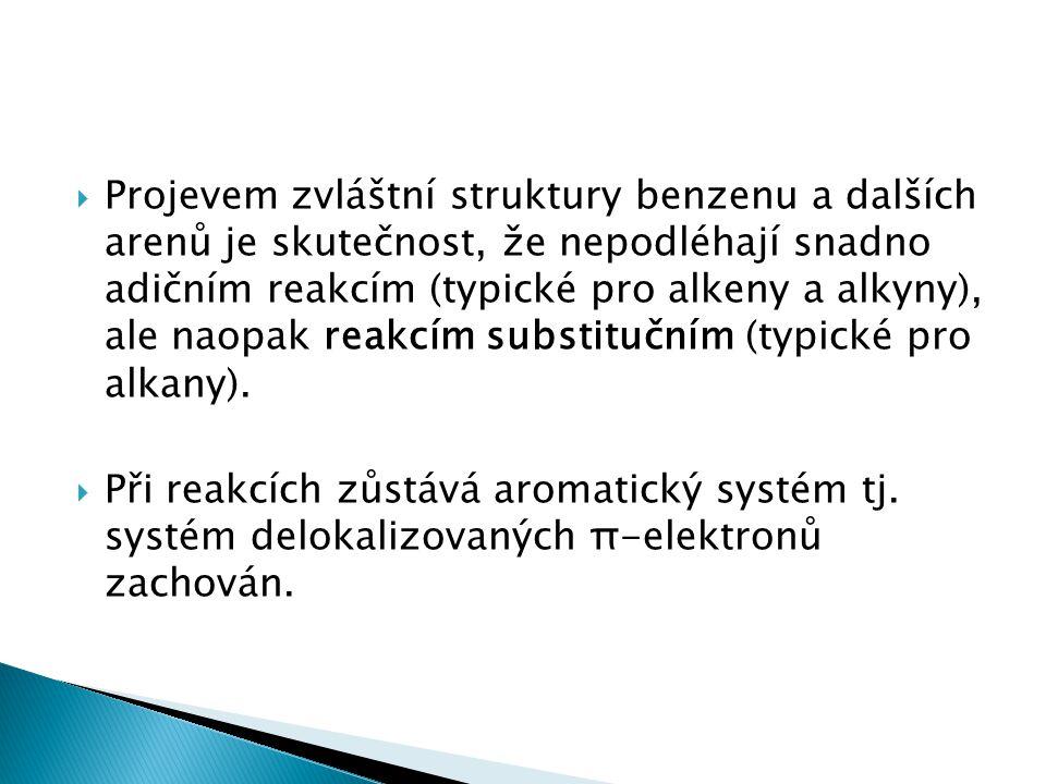  Nejdůležitější reakcí aromatických sloučenin je tedy elektrofilní aromatická substituce.