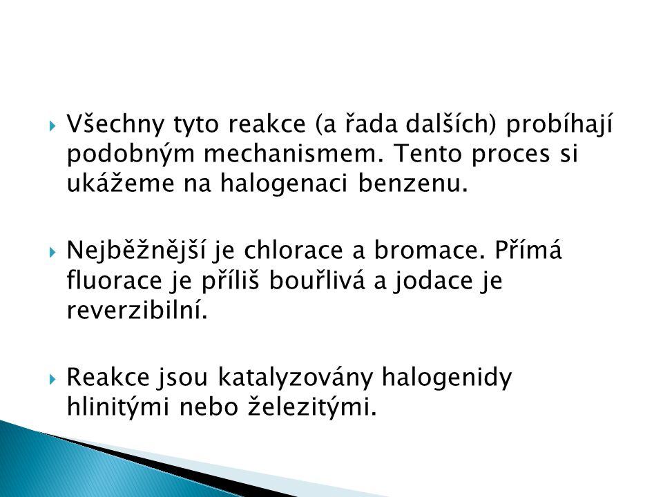  Všechny tyto reakce (a řada dalších) probíhají podobným mechanismem. Tento proces si ukážeme na halogenaci benzenu.  Nejběžnější je chlorace a brom