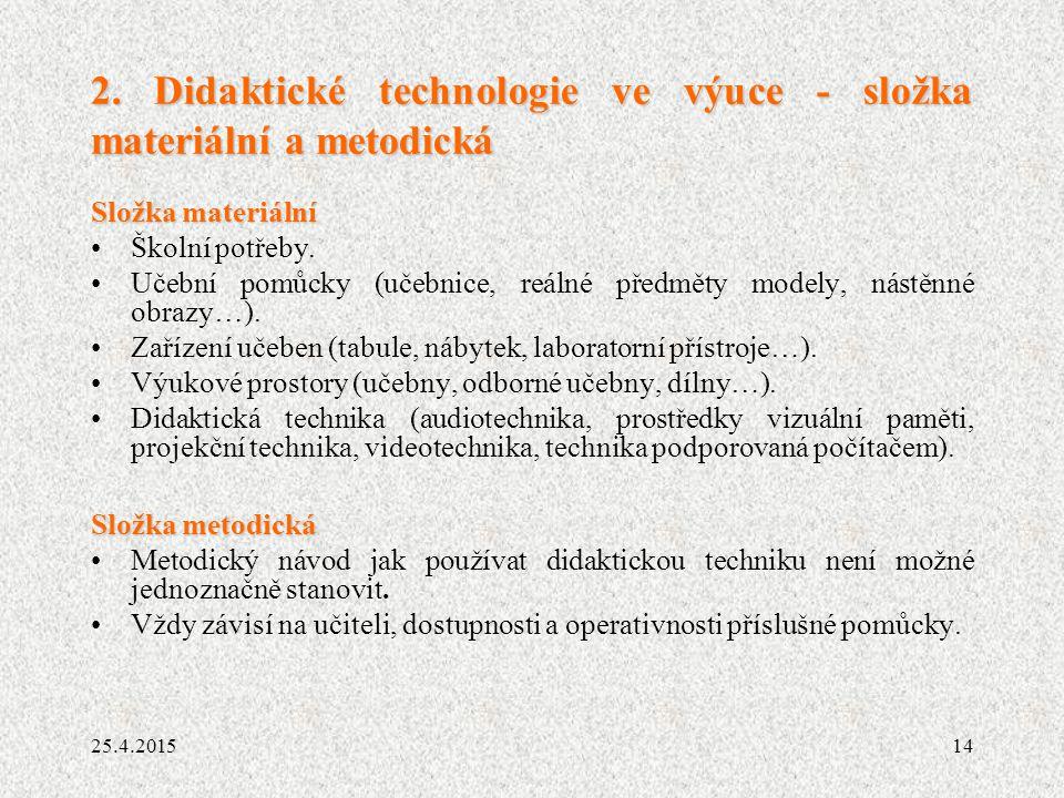 14 2. Didaktické technologie ve výuce - složka materiální a metodická Složka materiální Školní potřeby. Učební pomůcky (učebnice, reálné předměty mode
