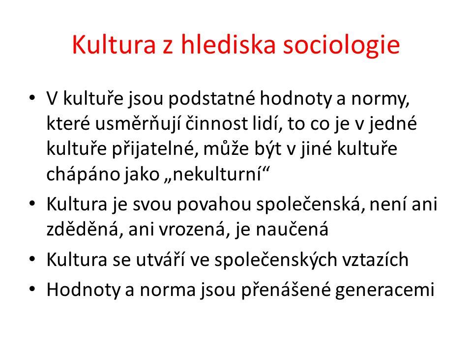 """Kultura z hlediska sociologie V kultuře jsou podstatné hodnoty a normy, které usměrňují činnost lidí, to co je v jedné kultuře přijatelné, může být v jiné kultuře chápáno jako """"nekulturní Kultura je svou povahou společenská, není ani zděděná, ani vrozená, je naučená Kultura se utváří ve společenských vztazích Hodnoty a norma jsou přenášené generacemi"""