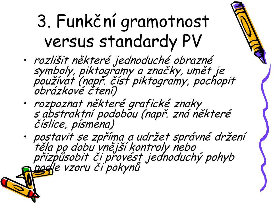 3. Funkční gramotnost versus standardy PV rozlišit některé jednoduché obrazné symboly, piktogramy a značky, umět je používat (např. číst piktogramy, p