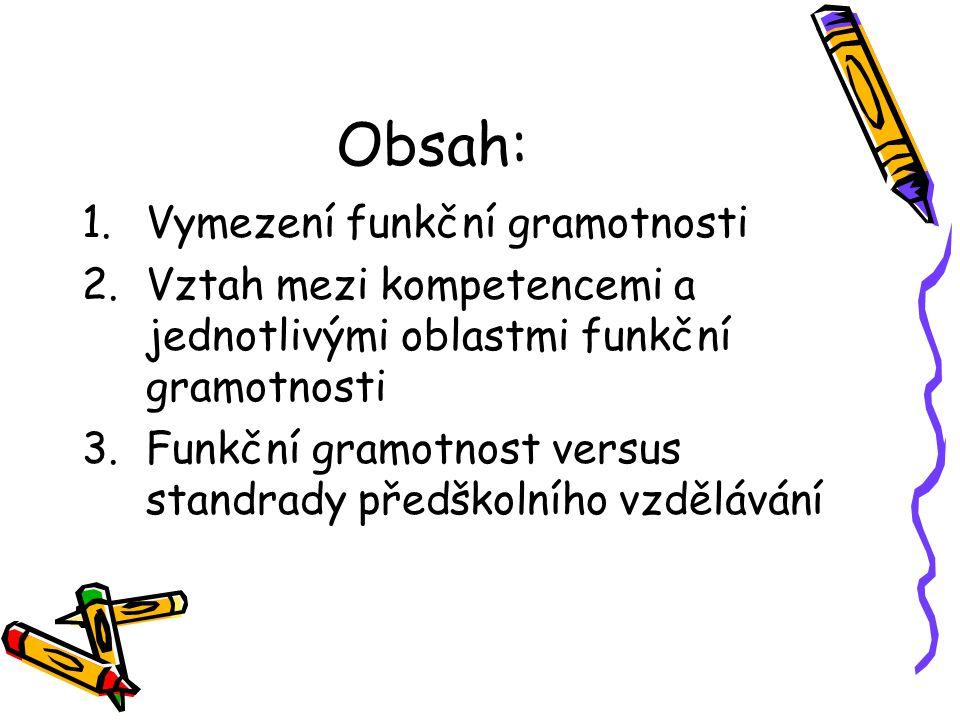Obsah: 1.Vymezení funkční gramotnosti 2.Vztah mezi kompetencemi a jednotlivými oblastmi funkční gramotnosti 3.Funkční gramotnost versus standrady před