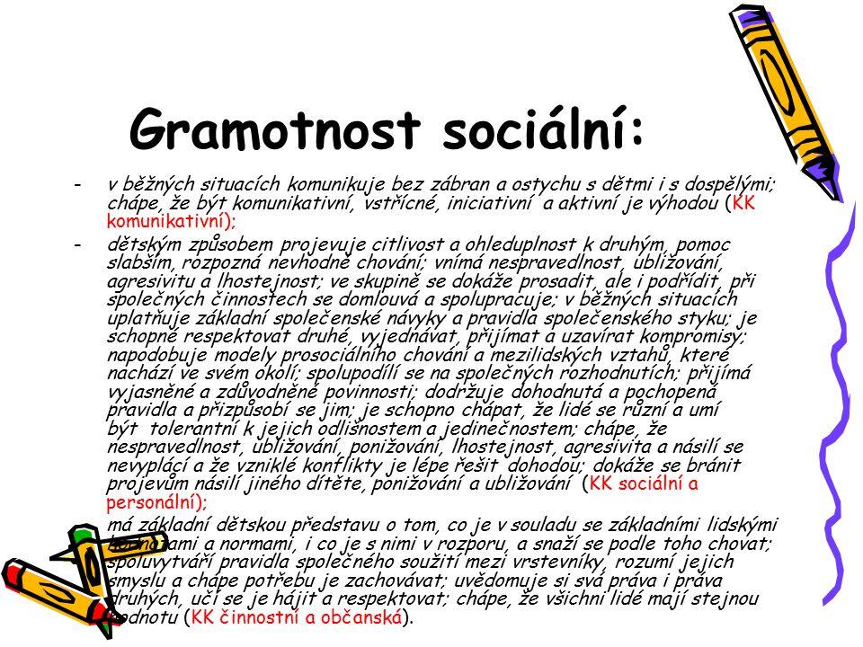 Gramotnost sociální: -v běžných situacích komunikuje bez zábran a ostychu s dětmi i s dospělými; chápe, že být komunikativní, vstřícné, iniciativní a