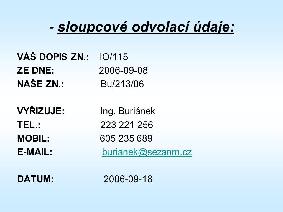 - sloupcové odvolací údaje: VÁŠ DOPIS ZN.: IO/115 ZE DNE: 2006-09-08 NAŠE ZN.: Bu/213/06 VYŘIZUJE: Ing.