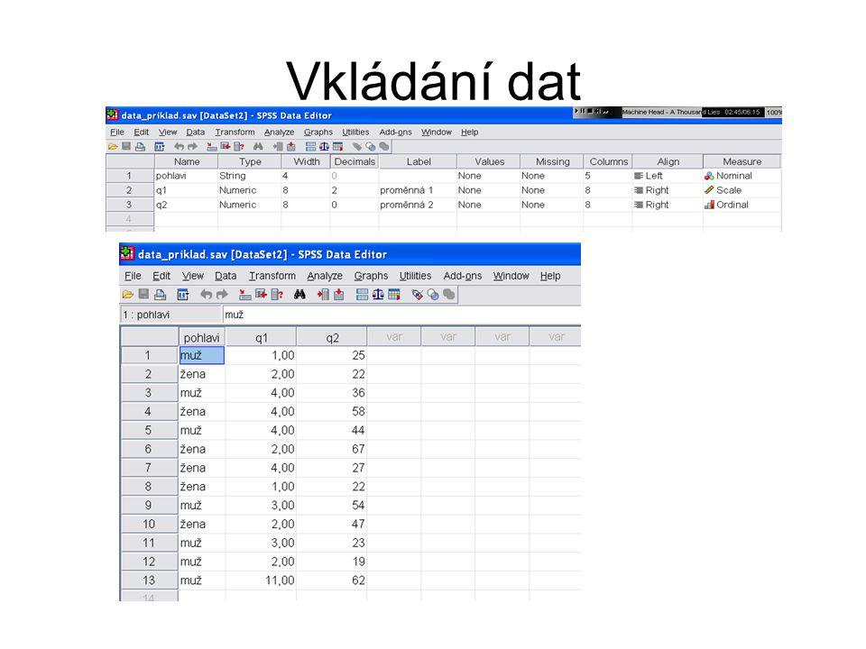 Transformace dat → Transform Výpočet ► vytváření nových (umělých) znaků → Compute Rekódování → Recode (do stejné do nové promenné) Visual Binding – nástroj pro snadné rokódování (dle percentilů apod.)