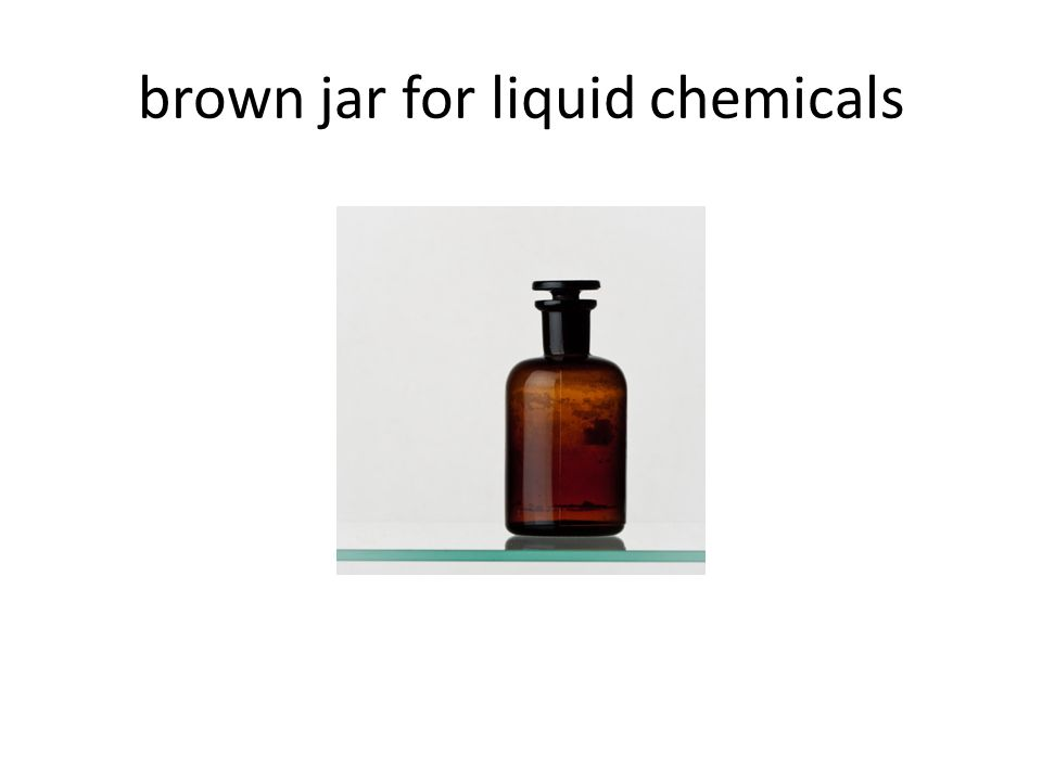 brown jar for liquid chemicals