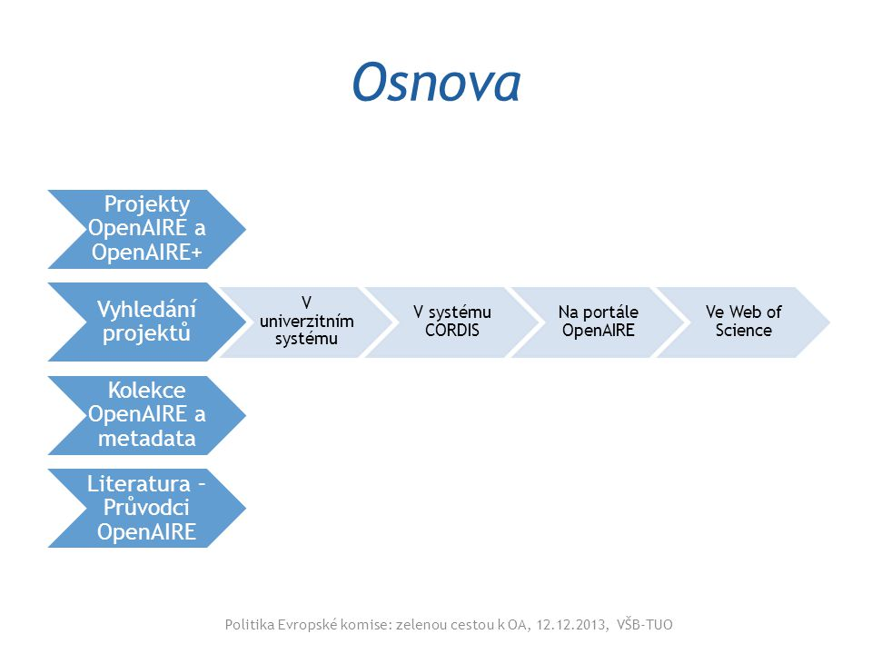 Projekty OpenAIRE a OpenAIRE+ 2009-2012 2012-2014 Pokračování v Horizontu 2020 – zastřešující informační infrastruktura evropského výzkumu EK chápe obě cesty OA jako rovnocenné OA hlavní princip zpřístupnění výsledků z projektů programu Horizont 2020 Publikace, informace o projektech, výzkumná data Politika Evropské komise: zelenou cestou k OA, 12.12.2013, VŠB-TUO