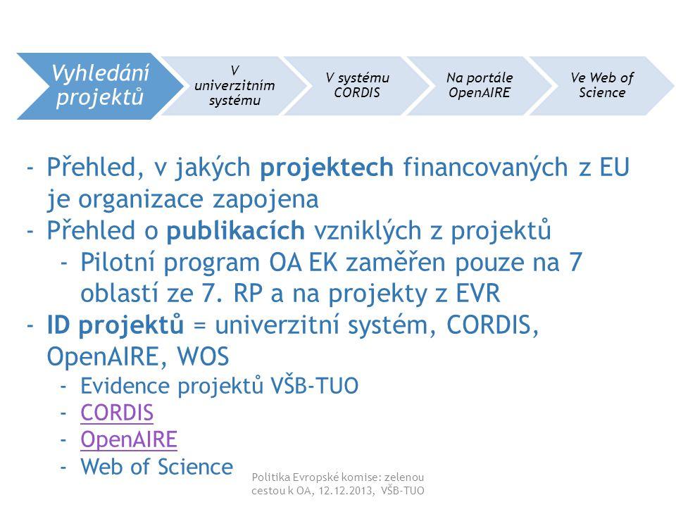 Politika Evropské komise: zelenou cestou k OA, 12.12.2013, VŠB-TUO Vyhledání projektů V univerzitním systému V systému CORDIS Na portále OpenAIRE Ve Web of Science -Přehled, v jakých projektech financovaných z EU je organizace zapojena -Přehled o publikacích vzniklých z projektů -Pilotní program OA EK zaměřen pouze na 7 oblastí ze 7.