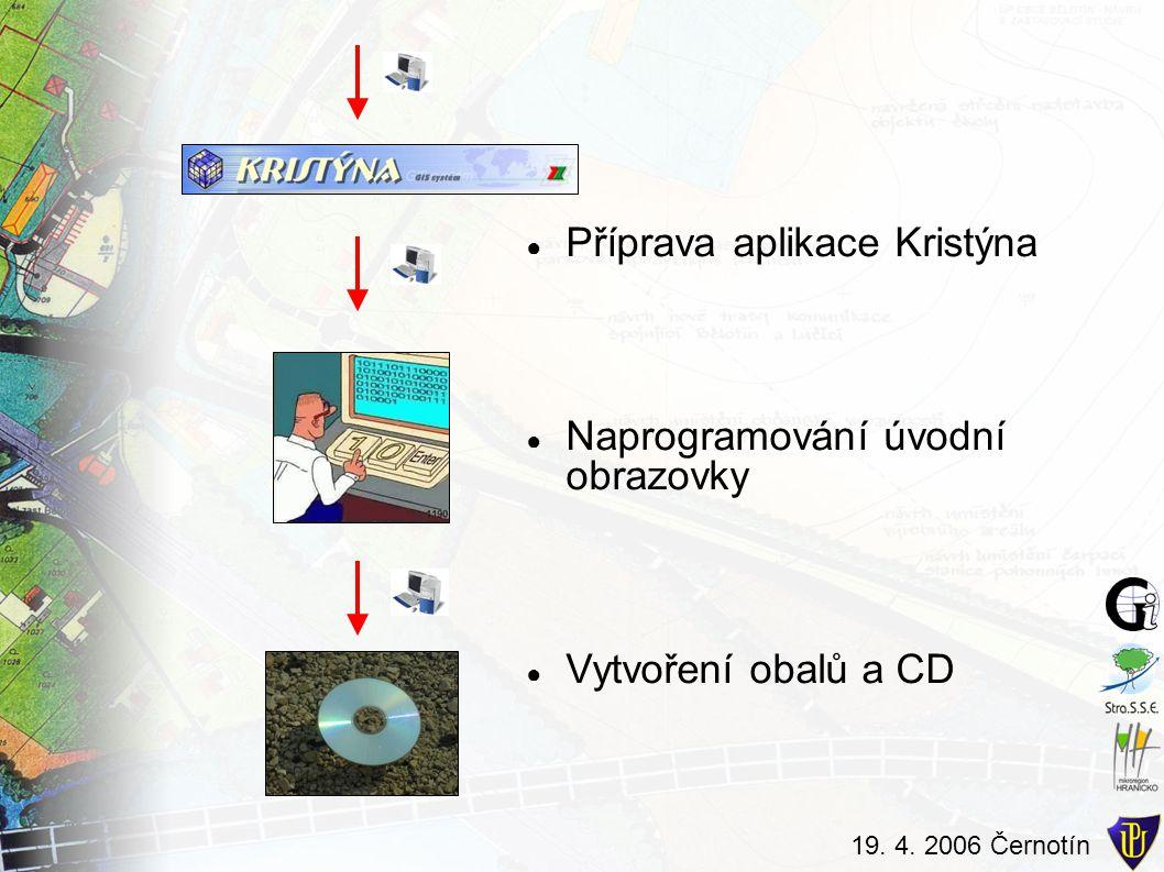 19. 4. 2006 Černotín ● Příprava aplikace Kristýna ● Naprogramování úvodní obrazovky ● Vytvoření obalů a CD