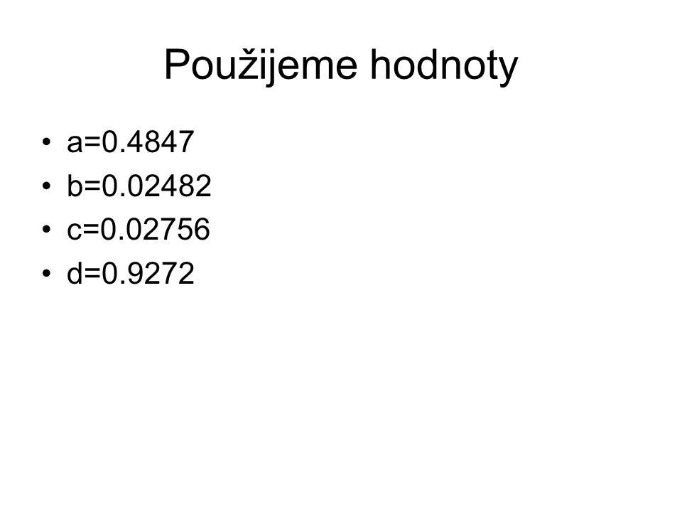 Použijeme hodnoty a=0.4847 b=0.02482 c=0.02756 d=0.9272