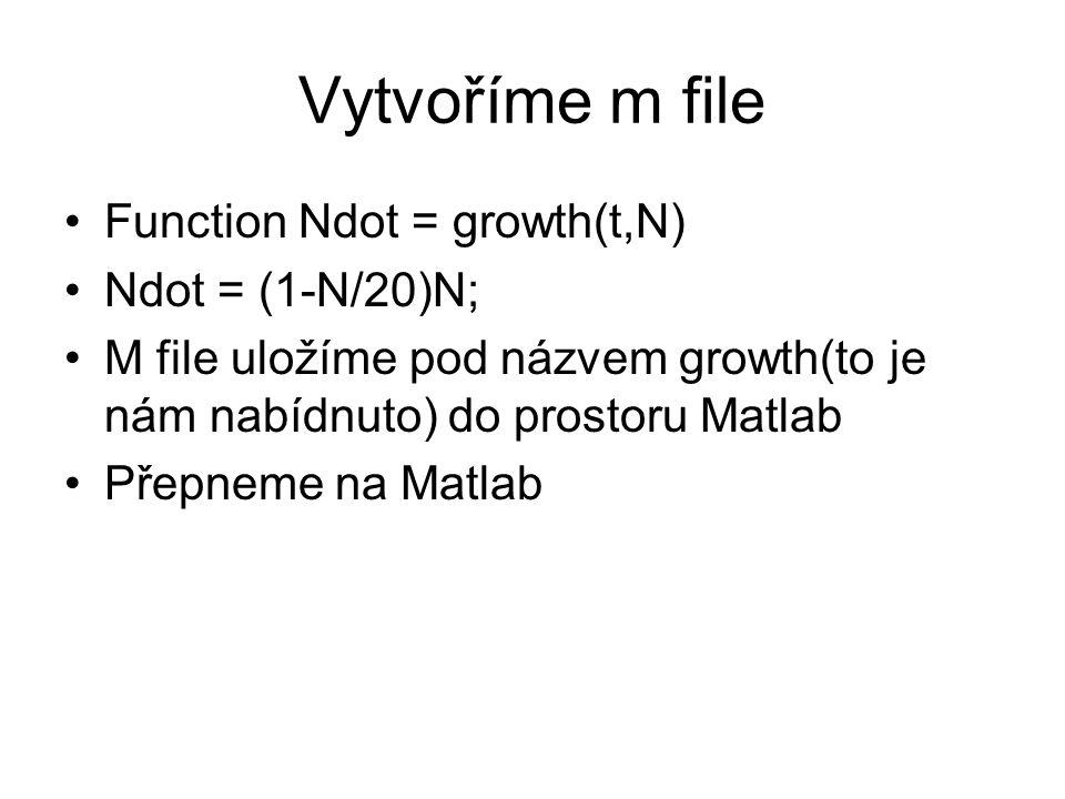 Vytvoříme m file Function Ndot = growth(t,N) Ndot = (1-N/20)N; M file uložíme pod názvem growth(to je nám nabídnuto) do prostoru Matlab Přepneme na Matlab