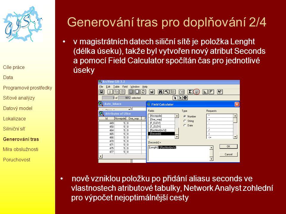 Generování tras pro doplňování 2/4 v magistrátních datech siliční sítě je položka Lenght (délka úseku), takže byl vytvořen nový atribut Seconds a pomo
