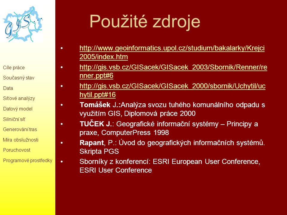 Použité zdroje http://www.geoinformatics.upol.cz/studium/bakalarky/Krejci 2005/index.htmhttp://www.geoinformatics.upol.cz/studium/bakalarky/Krejci 200