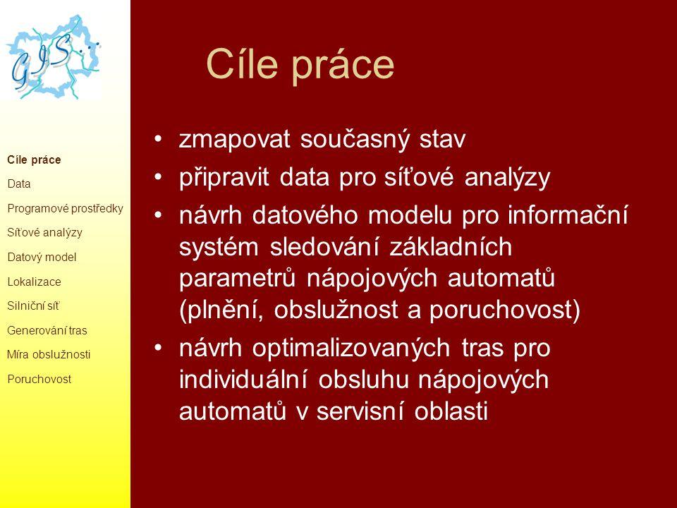 Data silniční síť ve formátu *.shp (magistrát města Ostravy), nutná pro provedení síťových analýz firma poskytla informace o automatech - lokalizace(čísla budov,názvy firem) - počty vydaných porcí, cena nápoje, datumy instalací a oprav apod.