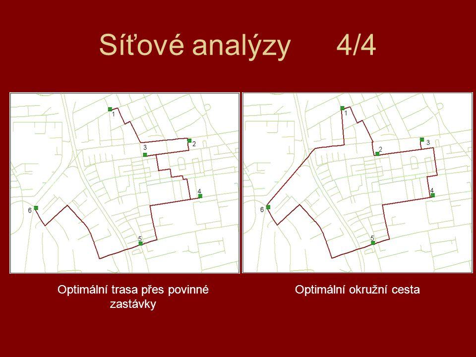 Síťové analýzy4/4 Optimální okružní cestaOptimální trasa přes povinné zastávky