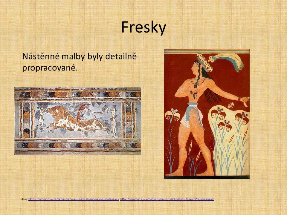Fresky Zdroj: http://commons.wikimedia.org/wiki/File:Bull-leaping.jpg?uselang=cs, http://commons.wikimedia.org/wiki/File:Knossos_frise2.JPG?uselang=cs